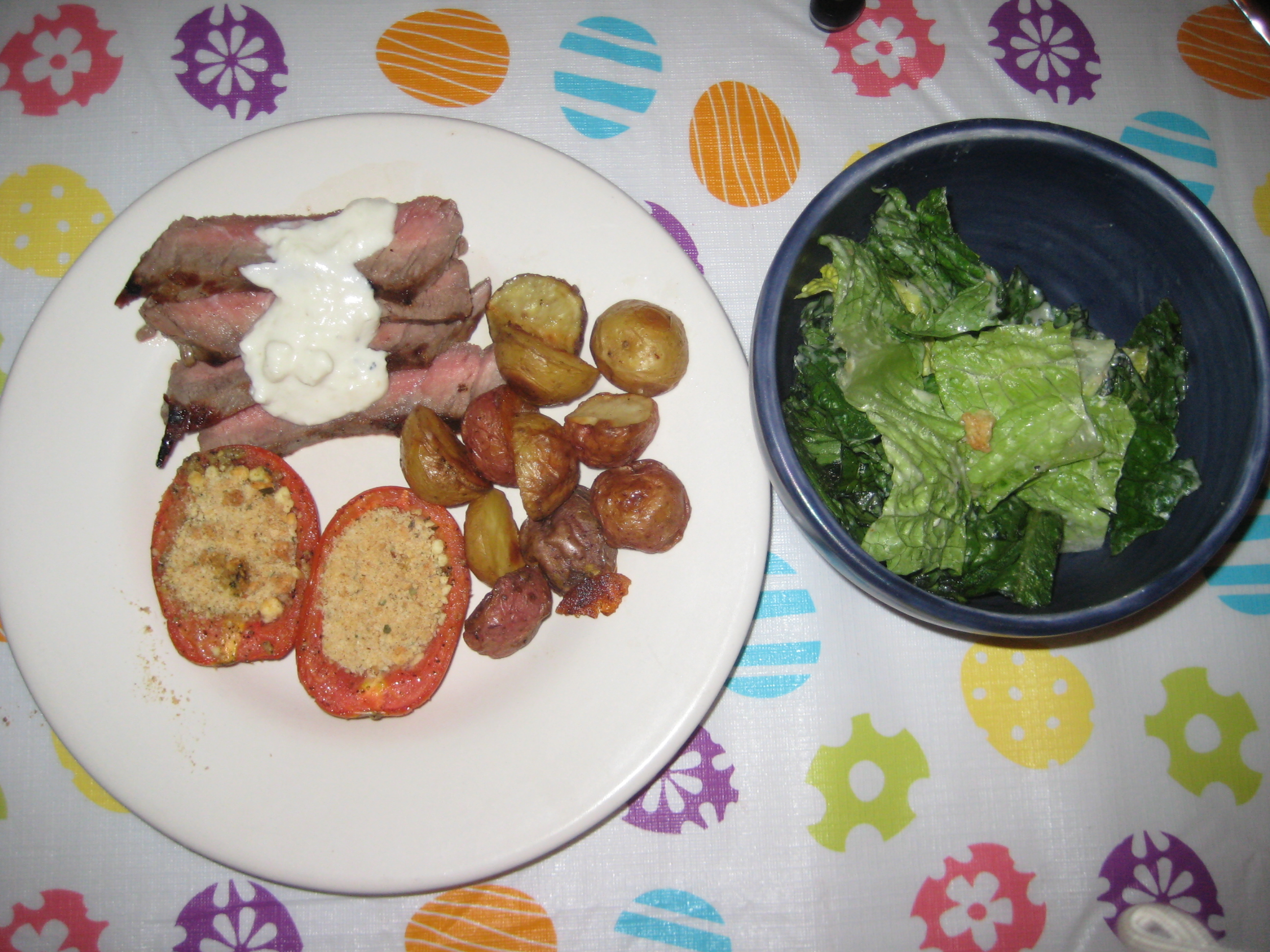 london broil, roasted potatoes & roasted tomatoes