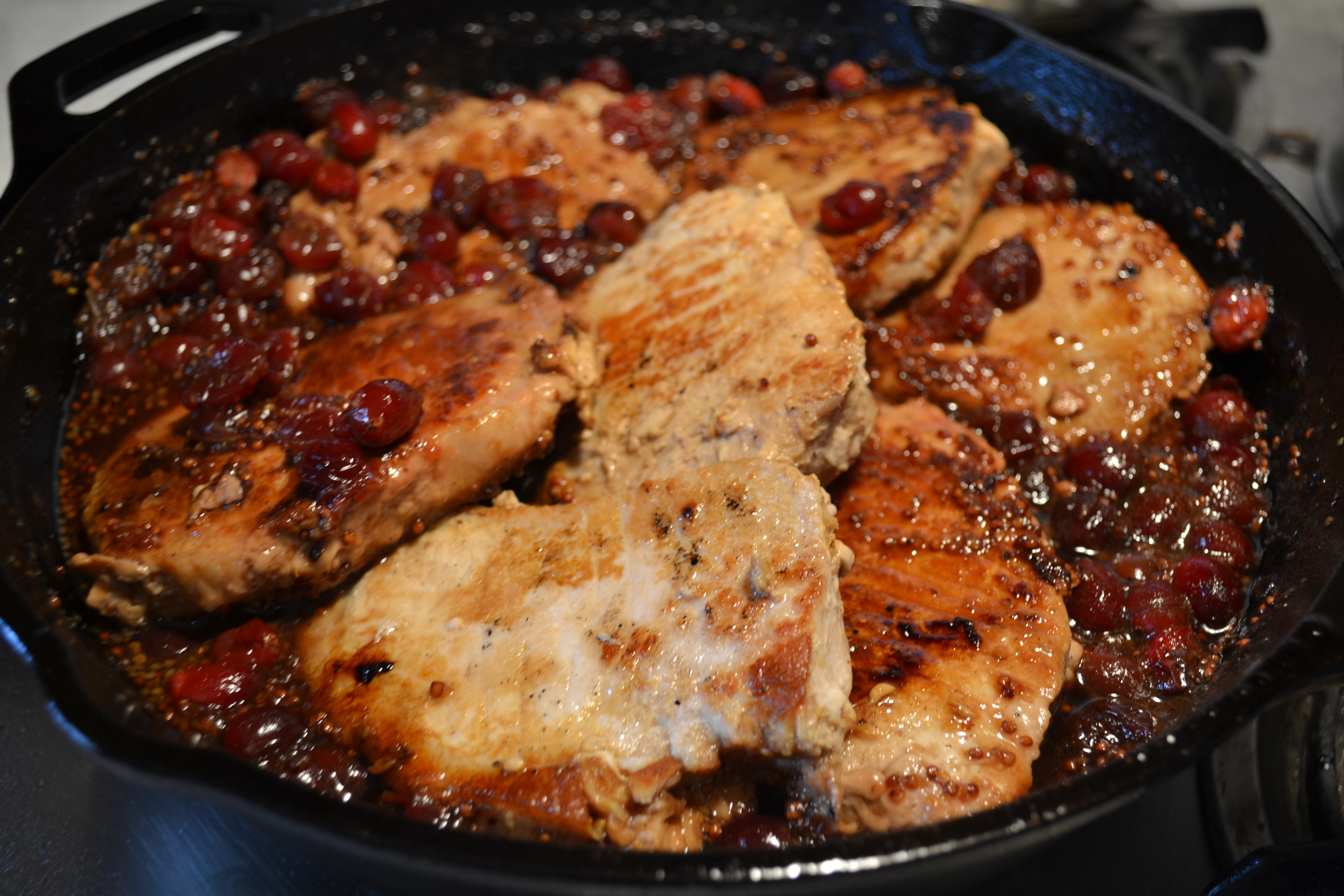 Pork Chops with Cranberry-Maple Pan Sauce | ilonaskitchen